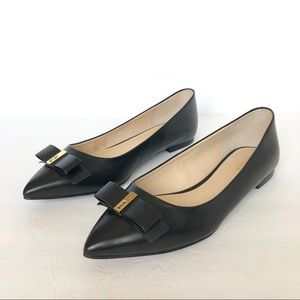 New Cole Haan Leather Black Elsie Bow Skimmer Flat